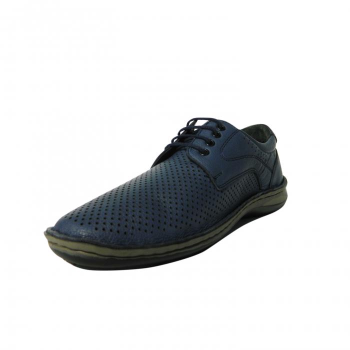Pantofi casual pentru barbati din piele naturala, Safari, Dr. Jells, Albastru, 44 EU [2]