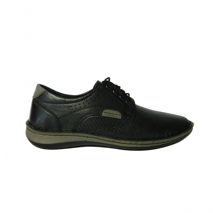 Pantofi casual pentru barbati din piele naturala, Safari, Dr. Jells, Negru, 40 EU 0