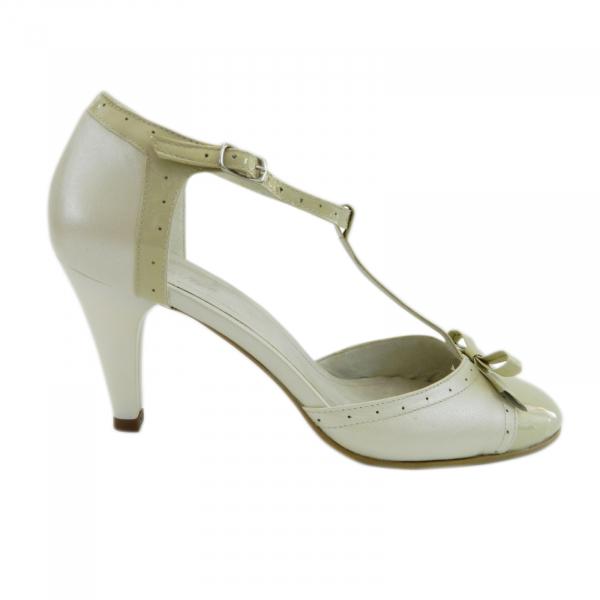 Pantofi dama cu funda Monne, piele naturala, Nist, Bej, 35 EU 2