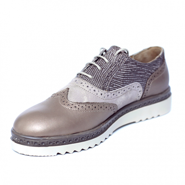 Pantofi dama din piele naturala, CZR, Peter, Bej, 37 EU 3
