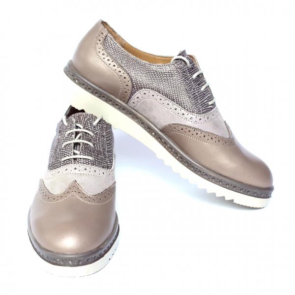 Pantofi dama din piele naturala, CZR, Peter, Bej, 37 EU 2