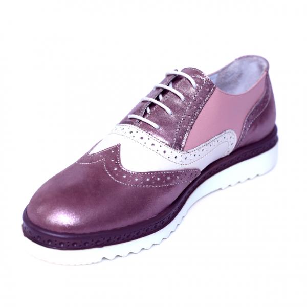 Pantofi dama din piele naturala, CZR, Peter, Roz, 39 EU 3