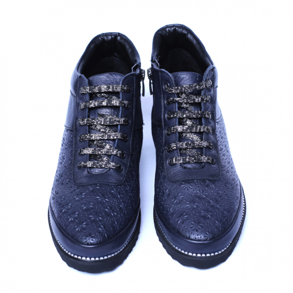Pantofi dama din piele naturala, Row, Relin, Albastru, 37 EU [3]