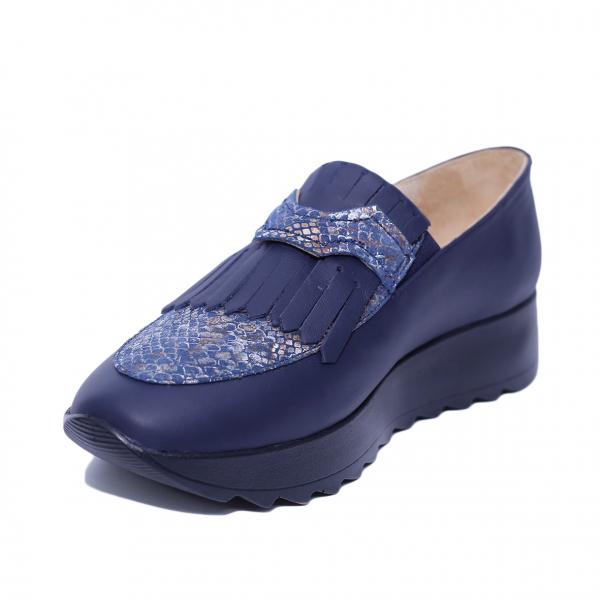 Pantofi dama din piele naturala, Nicole, PETER, Albastru, 37 EU 0