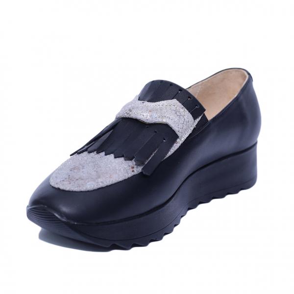 Pantofi dama din piele naturala, Nicole Villa, PETER, Negru, 37 EU 0