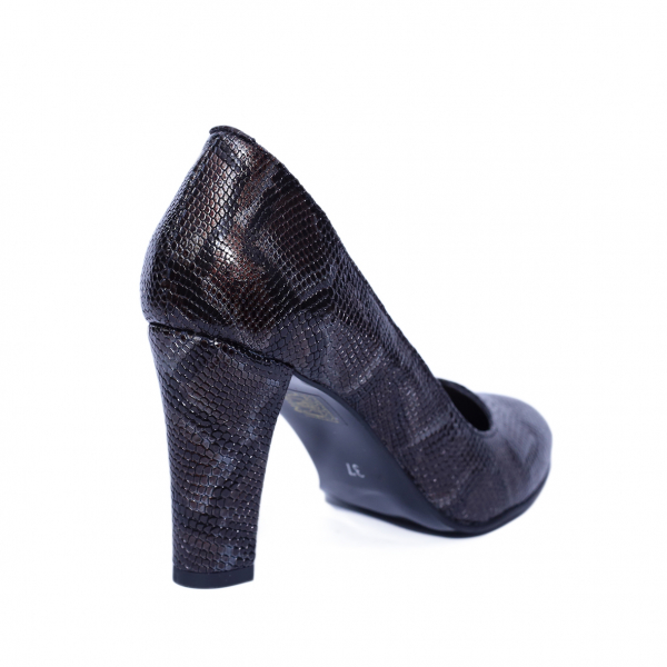 Pantofi dama din piele naturala, Croco, Nist, Maro, 37 EU 2