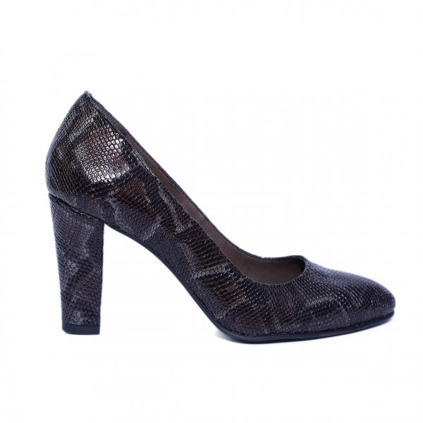 Pantofi dama din piele naturala, Croco, Nist, Maro, 37 EU 0