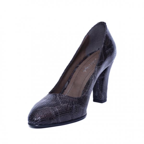 Pantofi dama din piele naturala, Croco, Nist, Maro, 37 EU 1