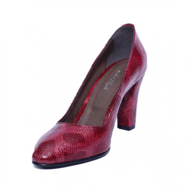 Pantofi dama din piele naturala, Croco, Nist, Rosu, 37 EU [1]
