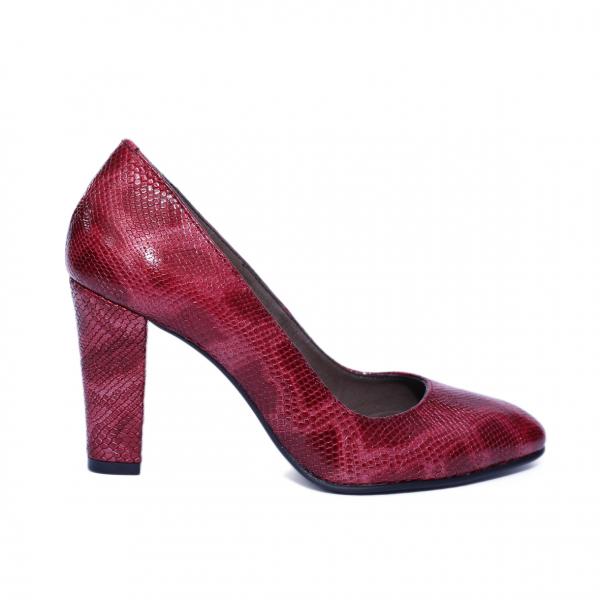 Pantofi dama din piele naturala, Croco, Nist, Rosu, 37 EU [0]
