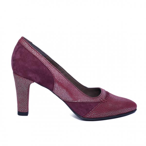 Pantofi dama din piele naturala, Style Box, Nist, Bordeaux, 36 EU 0