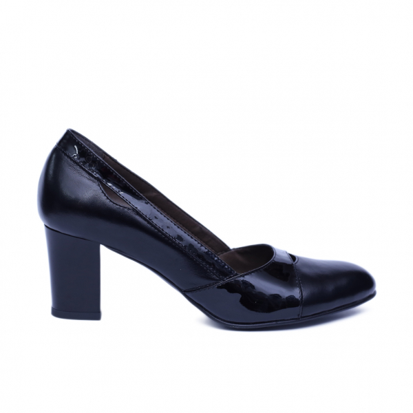 Pantofi dama din piele naturala, Lina, Nist, Negru, 36 EU [0]