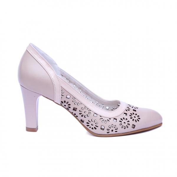 Pantofi dama din piele naturala, Pink, Nist, Bej, 40 EU 0