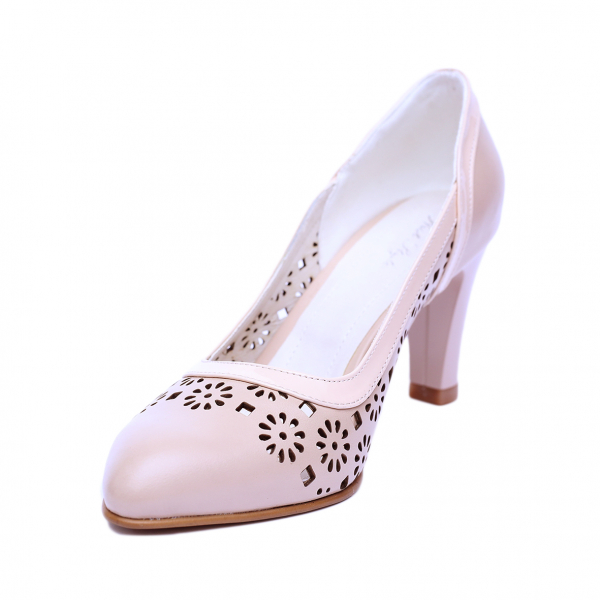 Pantofi dama din piele naturala, Pink, Nist, Bej, 40 EU 1