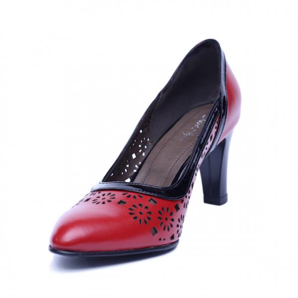 Pantofi dama din piele naturala, Pink, Nist, Rosu, 36 EU [1]