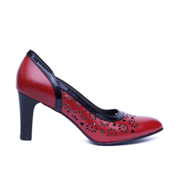 Pantofi dama din piele naturala, Pink, Nist, Rosu, 36 EU [0]