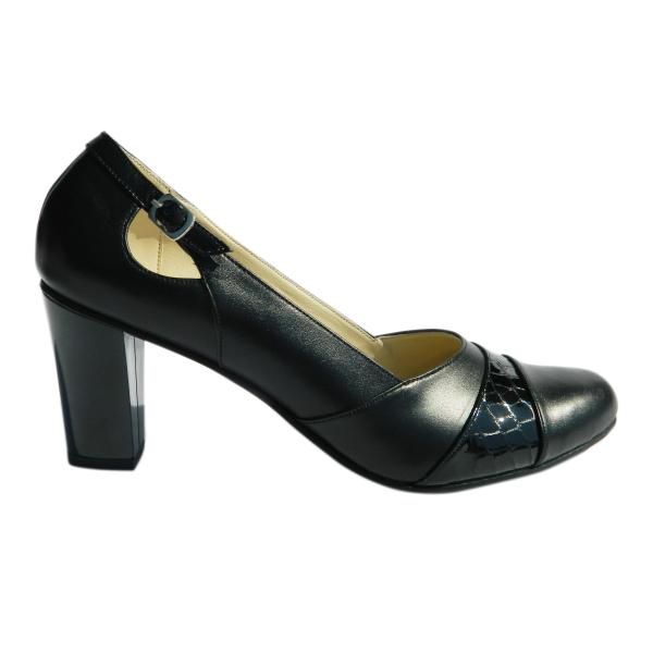 Pantofi dama cu catarama Foxy, piele naturala, Agatia, Negru, 36 EU [2]