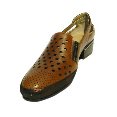 Pantofi dama cu perforatii Irina, piele naturala, Gitanos, Maro, 40 EU 2