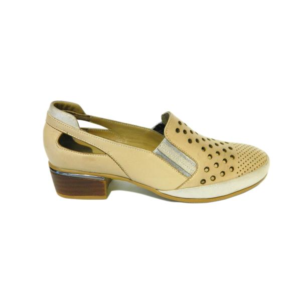 Pantofi dama cu perforatii Irina, piele naturala, Gitanos, Bej, 36 EU 2