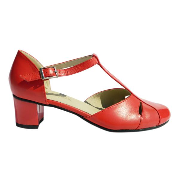 Pantofi dama din piele naturala, Felicity, Agatia, Rosu, 35 EU 2