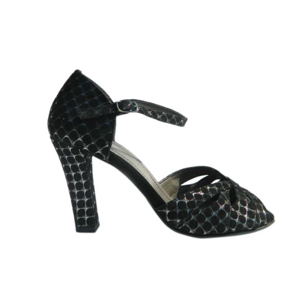 Pantofi dama din piele naturala, cu imprimeu, Moe, Nist, Negru, 35 EU 2