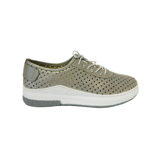 Pantofi dama cu perforatii Detta, piele naturala, Gitanos, Crem, 36 EU 2