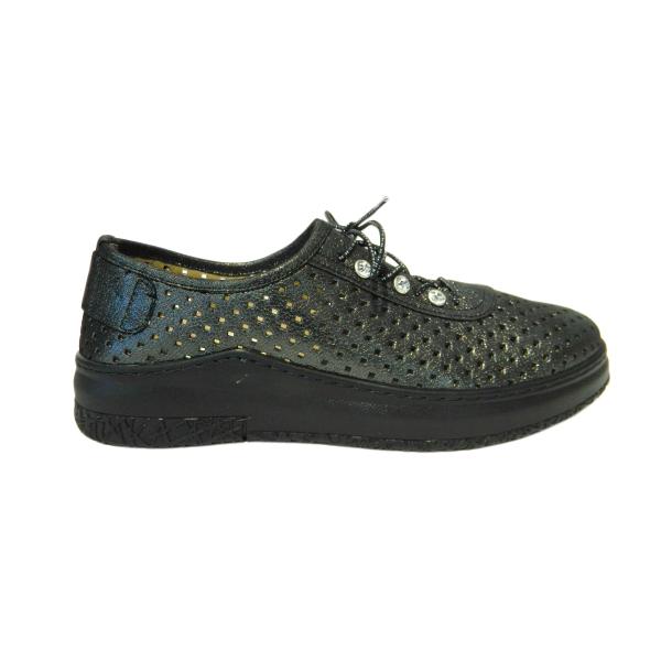 Pantofi dama cu perforatii Detta, piele naturala, Gitanos, Verde, 36 EU [2]