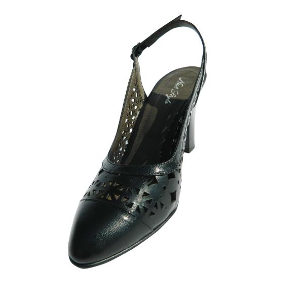Pantofi dama cu perforatii Aubree, piele naturala, Nist, Negru, 35 EU [0]