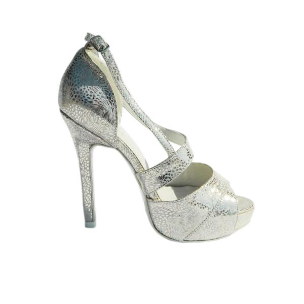 Pantofi dama din piele naturala, Beyonce, Nist, Argintiu, 35 EU [2]