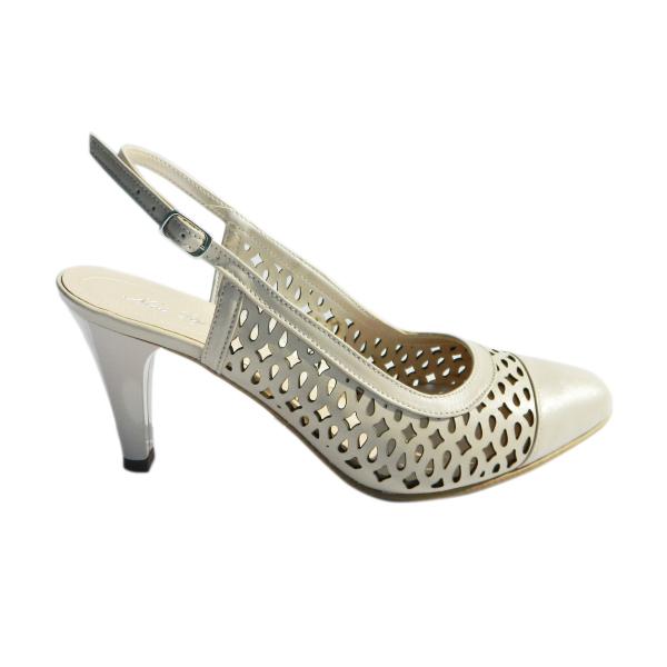 Pantofi dama din piele naturala, Alisse, Nist, Crem, 34.5 EU 2