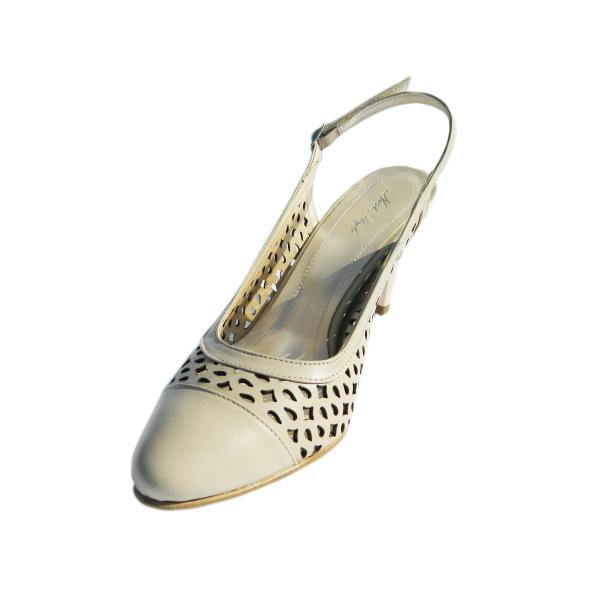 Pantofi dama din piele naturala, Alisse, Nist, Crem, 34.5 EU 0