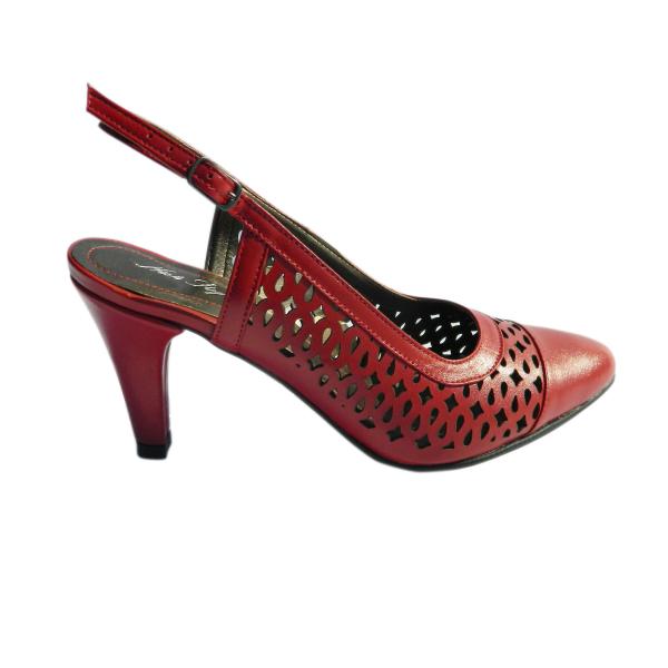 Pantofi dama din piele naturala, Alisse, Nist, Rosu, 34.5 EU 2