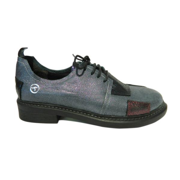 Pantofi dama din piele naturala, Oxford, Gitanos, Gri, 36 EU 2
