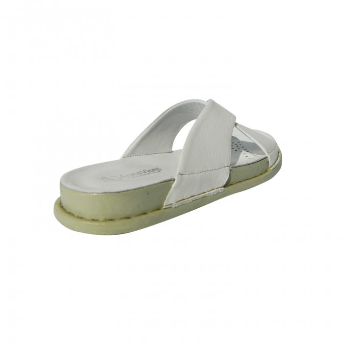 Papuci dama din piele naturala, Slipper, Anna Viotti, Alb, 39 EU 1