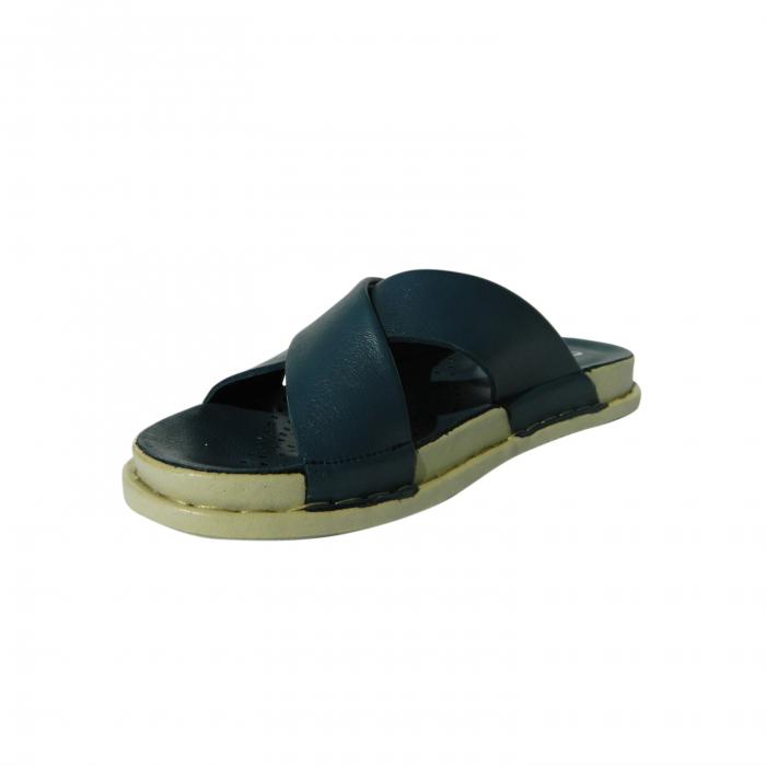 Papuci dama din piele naturala, Slipper, Anna Viotti, Albastru, 38 EU 2