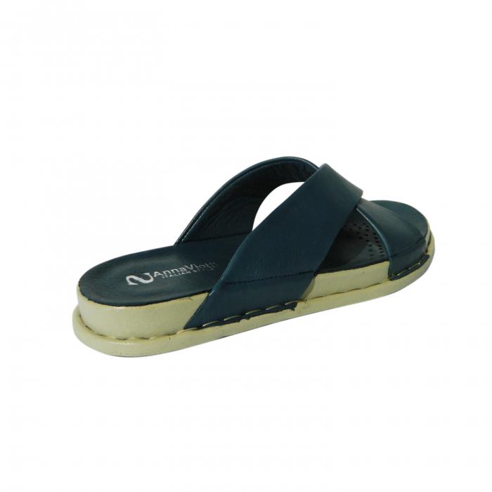 Papuci dama din piele naturala, Slipper, Anna Viotti, Albastru, 38 EU 1