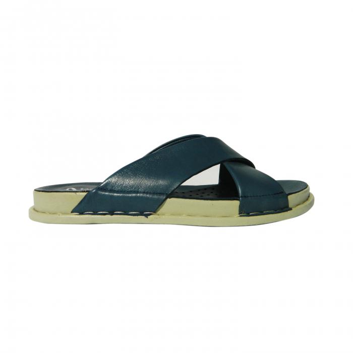 Papuci dama din piele naturala, Slipper, Anna Viotti, Albastru, 38 EU 0