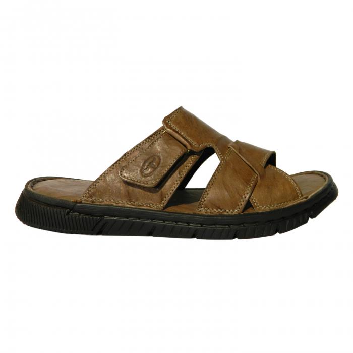 Papuci pentru barbati din piele naturala, Cuba, Gitanos, Maro, 40 EU 0