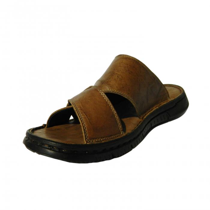 Papuci pentru barbati din piele naturala, Cuba, Gitanos, Maro, 40 EU 2