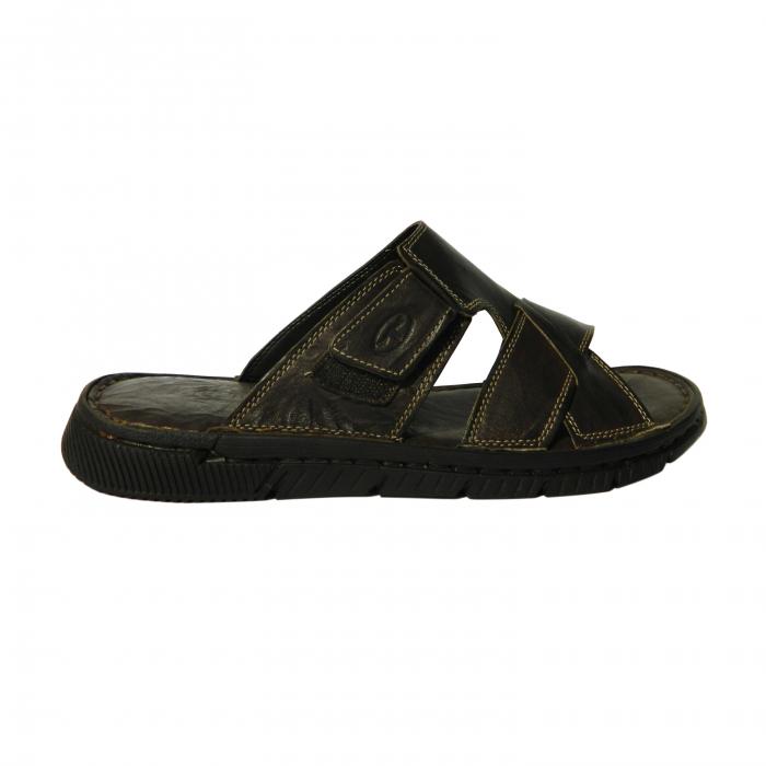 Papuci pentru barbati din piele naturala, Cuba, Gitanos, Maro inchis, 40 EU 0