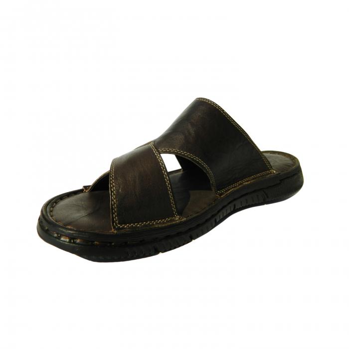 Papuci pentru barbati din piele naturala, Cuba, Gitanos, Maro inchis, 40 EU 2