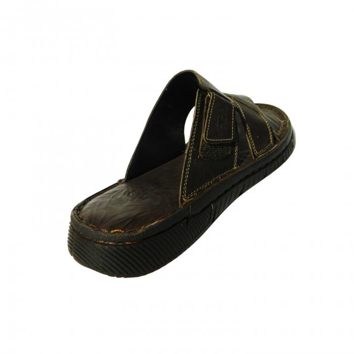 Papuci pentru barbati din piele naturala, Cuba, Gitanos, Maro inchis, 40 EU 1
