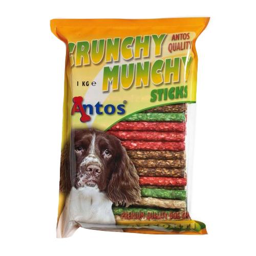 Recompense pentru caini Antos, Crunchy Munchy Sticks 10 mm asortate, Vita, 1 kg 0