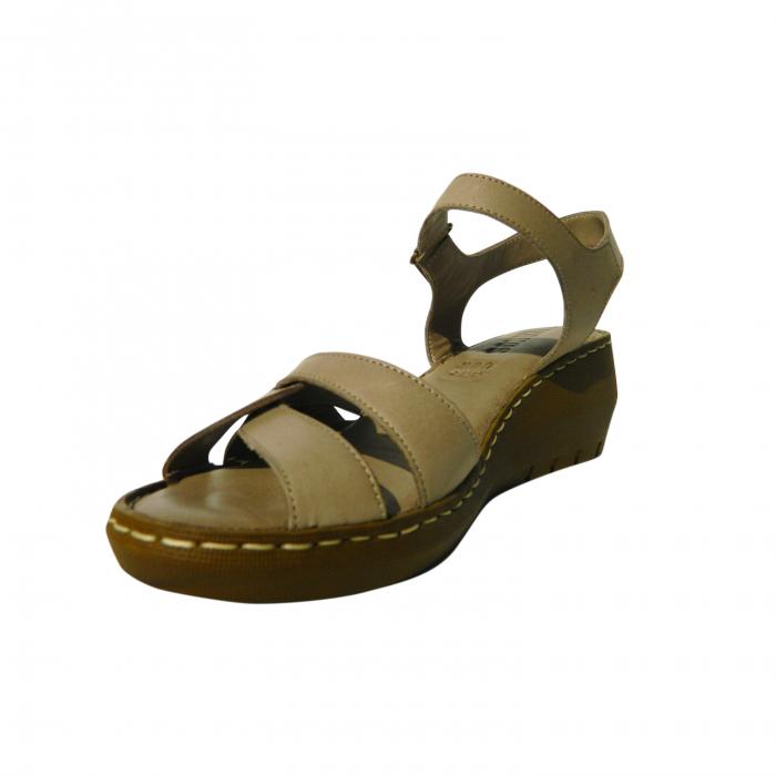 Sandale dama din piele naturala, Amza, Gitanos, Bej, 39 EU [2]