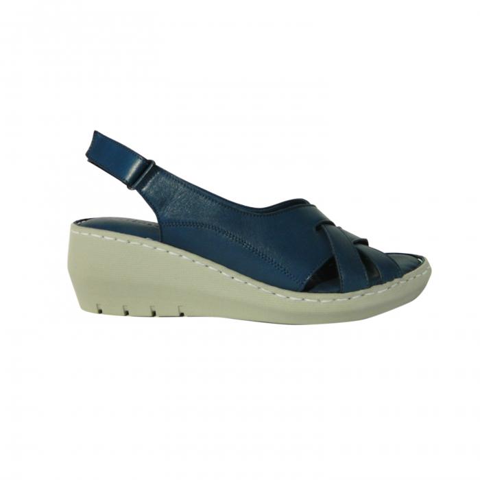 Sandale dama din piele naturala, Mary, Gitanos, Albastru, 36 EU 0