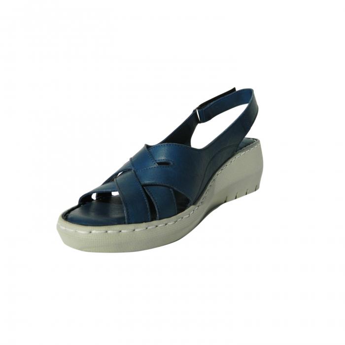 Sandale dama din piele naturala, Mary, Gitanos, Albastru, 36 EU 2