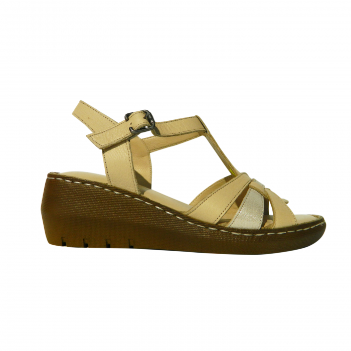Sandale dama din piele naturala, Pam, Gitanos, Bej, 37 EU [0]