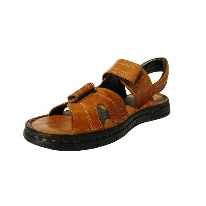 Sandale pentru barbati din piele naturala, Falcon, Gitanos, Maro, 43 EU 2