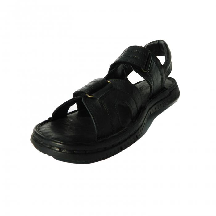 Sandale pentru barbati din piele naturala, Falcon, Gitanos, Negru, 41 EU 2