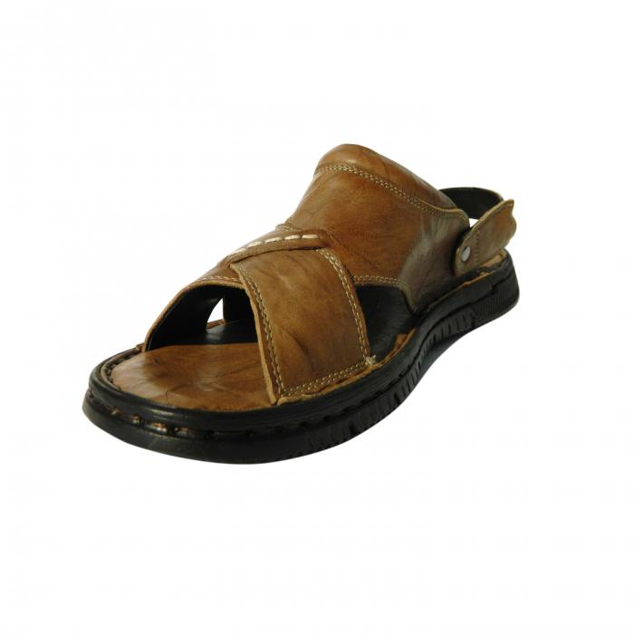 Sandale pentru barbati din piele naturala, Jules, Gitanos, Maro, 42 EU 2
